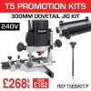 """T5EB/KIT/F- 1000W 1/4"""" 240v Router, 300mm Dovetail Jig & Fine Height Adjuster"""