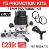 """T5EB/KIT/G - 1000W 1/4"""" 240v Router, 18mm Routabout Cutter Jig & Routabout Rings (10)"""