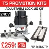 """T5EB/KIT/H - 1000W 1/4"""" 240v Router, Adjustable Lock Jig & 12mm Router Cutter"""