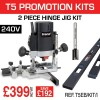 """T5EB/KIT/I - 1000W 1/4"""" 240v Router, 2PC Hinge Jig & 12mm Router Cutter"""