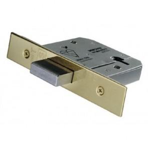 British Standard 5 Lever Deadlock 76mm Keyed Alike - PVD Brass