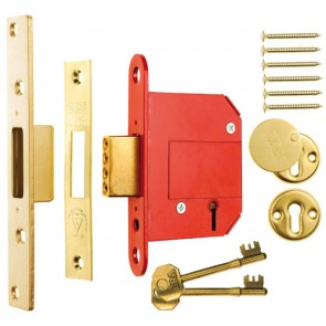 British Standard High Security Fortress 5 Lever Deadlock 64mm Keyed Alike - Brass