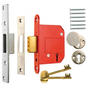 British Standard High Security Fortress 5 Lever Deadlock 76mm Keyed Alike - Satin
