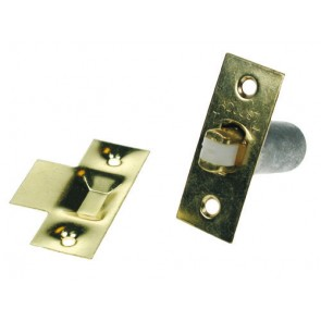 Adjustable Nylon Roller Catch - Polished Brass