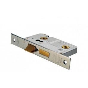 Bathroom Mortice Lock - Nickel (Various Sizes)