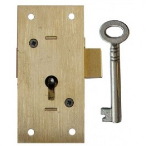 2 Lever Straight Cupboard Lock KA - Brass