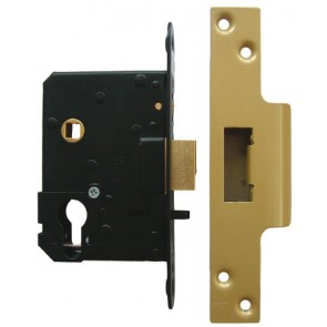 Euro Fire/Hotel Lock 76mm - Polished Brass