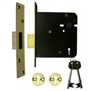 "5 Lever Mortice Dead Lock 4"" - Polished Brass"