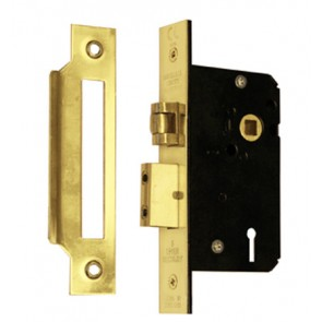"Imperial 5 Lever 5L Mortice Roller Sash Lock 2.5"" - Polished Brass"