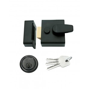 40mm Black Night Latch & Rim Cylinder - Black
