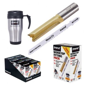 Worktop Fitting Pack - x3 Router Cutters, x5 Jigsaw Blades + Free Travel Mug
