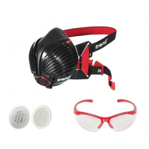 Trend Air Stealth P3 (R) Half Mask (Med/Large) + Extra Filters + Safety Spectacles