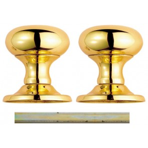 Unsprung Victorian Mushroom Mortice Knob Set 52mm - Polished Brass