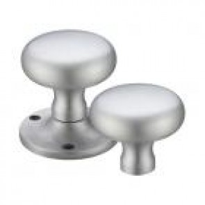 Victorian Mushroom Rim Knob Sets 57.5mm - Satin Chrome
