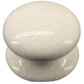Porcelain Single Knob 60mm - White Crackle