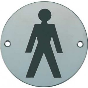 Mens Toilet Sign - Satin Stainless Steel