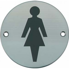 Female Toilet Sign - Satin Stainless Steel