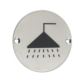 Showers Sign 76mm - Satin Stainless Steel