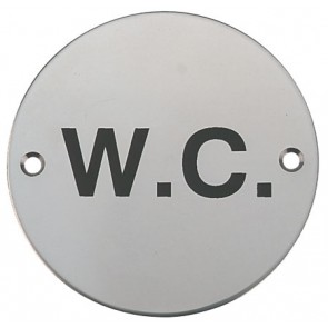 W.C. Graphic Sign - Satin Stainless Steel