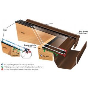 Exitex - Ankorglaze for 24/25mm Glazing 2.1m - Brown