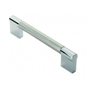 Keyhole Bar Handle, 172mm (160mm cc) - Satin Nickel / Polished Chrome
