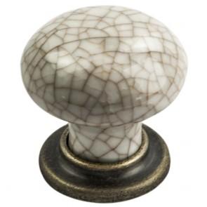 Antique Steel Porcelain Mushroom Pattern Knob