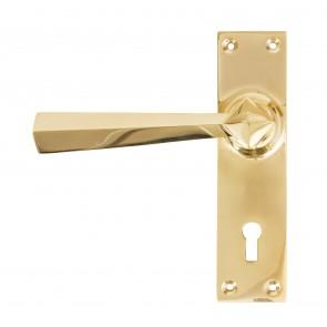 Straight Door Handle Set - Brass