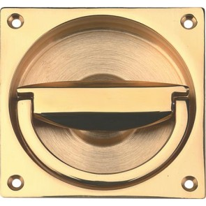 Flush Ring Pull Handle to Operate Mortice Latch 90 x 90 mm - Various Finishes