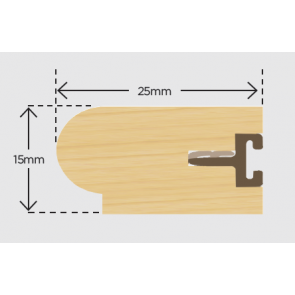 25mm x 15mm Timber Staff Bead and Carrier 3m - Primed (Pack 10)