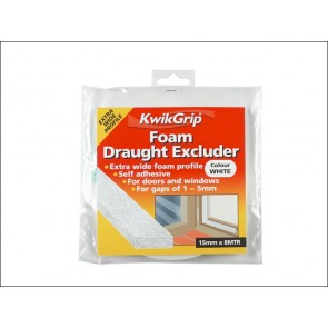 KwikGrip Foam Draught Excluder  White 15mm x 8M