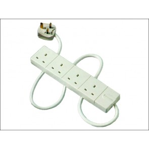 4 Gang Extension Lead 2 Meter 13a White