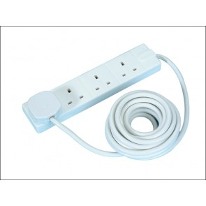 4 Gang Extension Lead 5 Meter 13a White