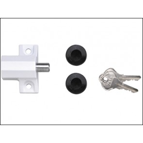 P114 Patio Door Lock White Finish Visi Pack