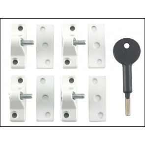 8K118 Economy Window Lock White Finish Pack 4 Visi Pack