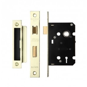 3 Lever Sash Lock 64mm - PVD Brass