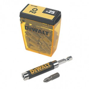 Dewalt Flip Box of 25 Pozi No.2 Bits and Magnetic Bit Holder