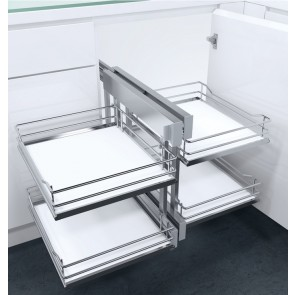 Flex Corner Pull Out Unit Cab Solid White Base For 900mm or 1000mm Units (Unhanded)