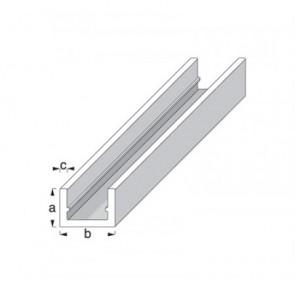 'U' shape Profile - Silver Anodised Aluminium