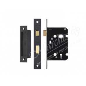 3 Lever Sash Lock - Black (Various Sizes)