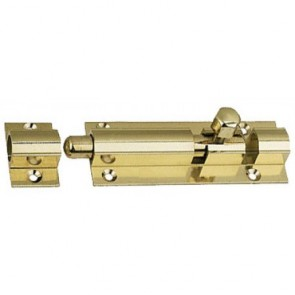 Straight Barrel Door Bolt - Polished Brass - Various Sizes