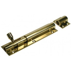 Straight Wide Barrel Door Bolt - Polished Brass - Various Sizes