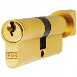 Thumbturn Euro Cylinder Key to Differ - Polished Brass