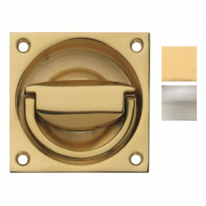 Flush Ring Pull Handle to Operate Mortice Latch 65 x 65 mm - Various Finishes