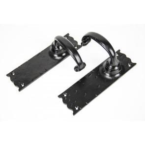 Cottage Lever Latch Door Handle Set - Hammered Black