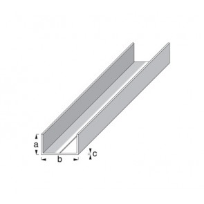 Rectangular U Profile 1m x 11.5mm x 19.5mm x 1.5mm - Aluminium