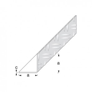 1m x 29.5mm Equal Sided Angle (Checkerplate) - Aluminium