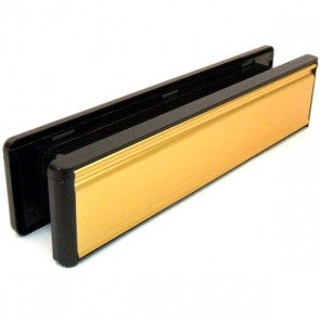 Gold & Black UPVC Letterbox 300 x 70mm